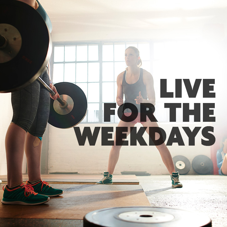 Weight training with personal trainer. Live for the weekend written in bold letters over image.