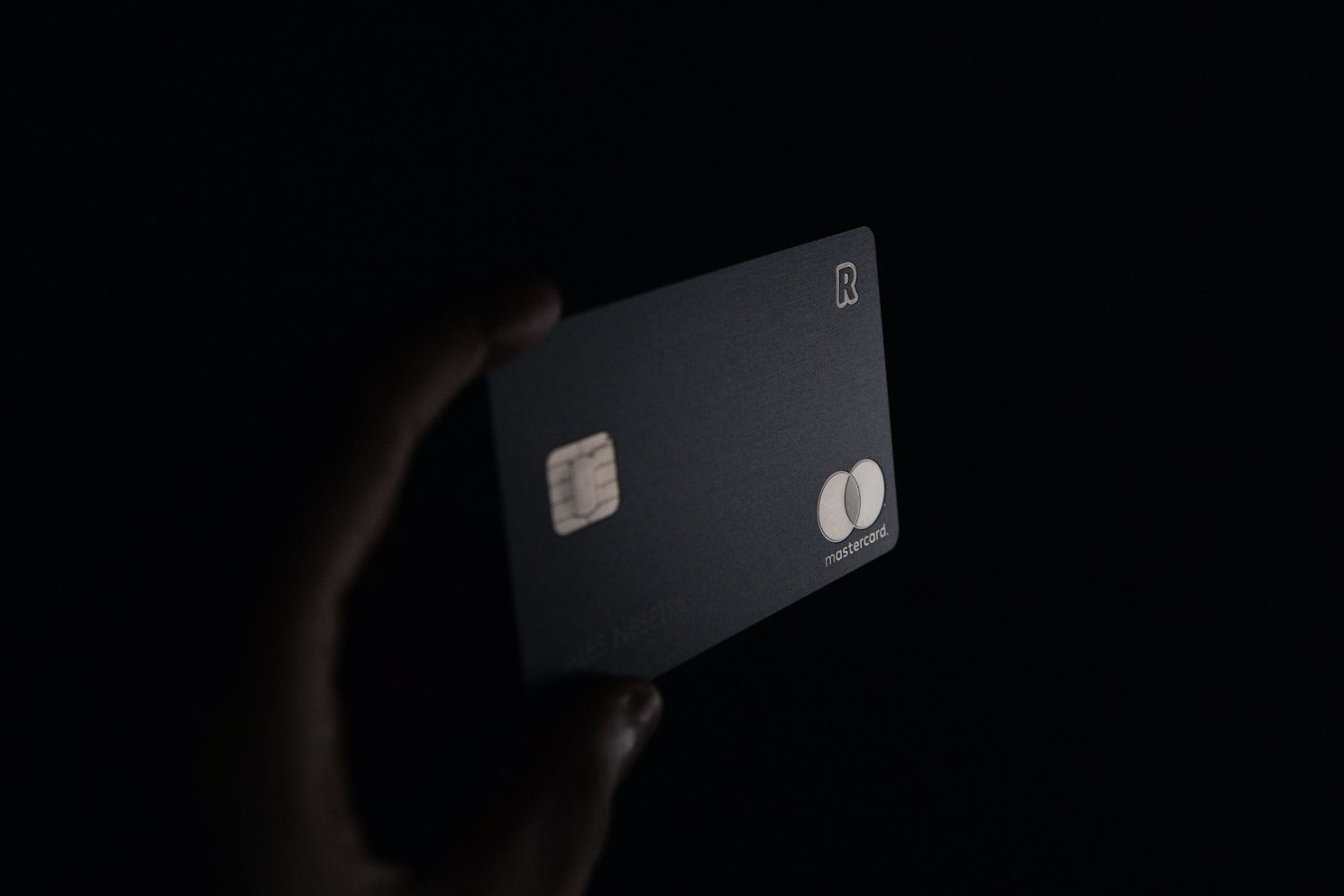 revolut card on black background