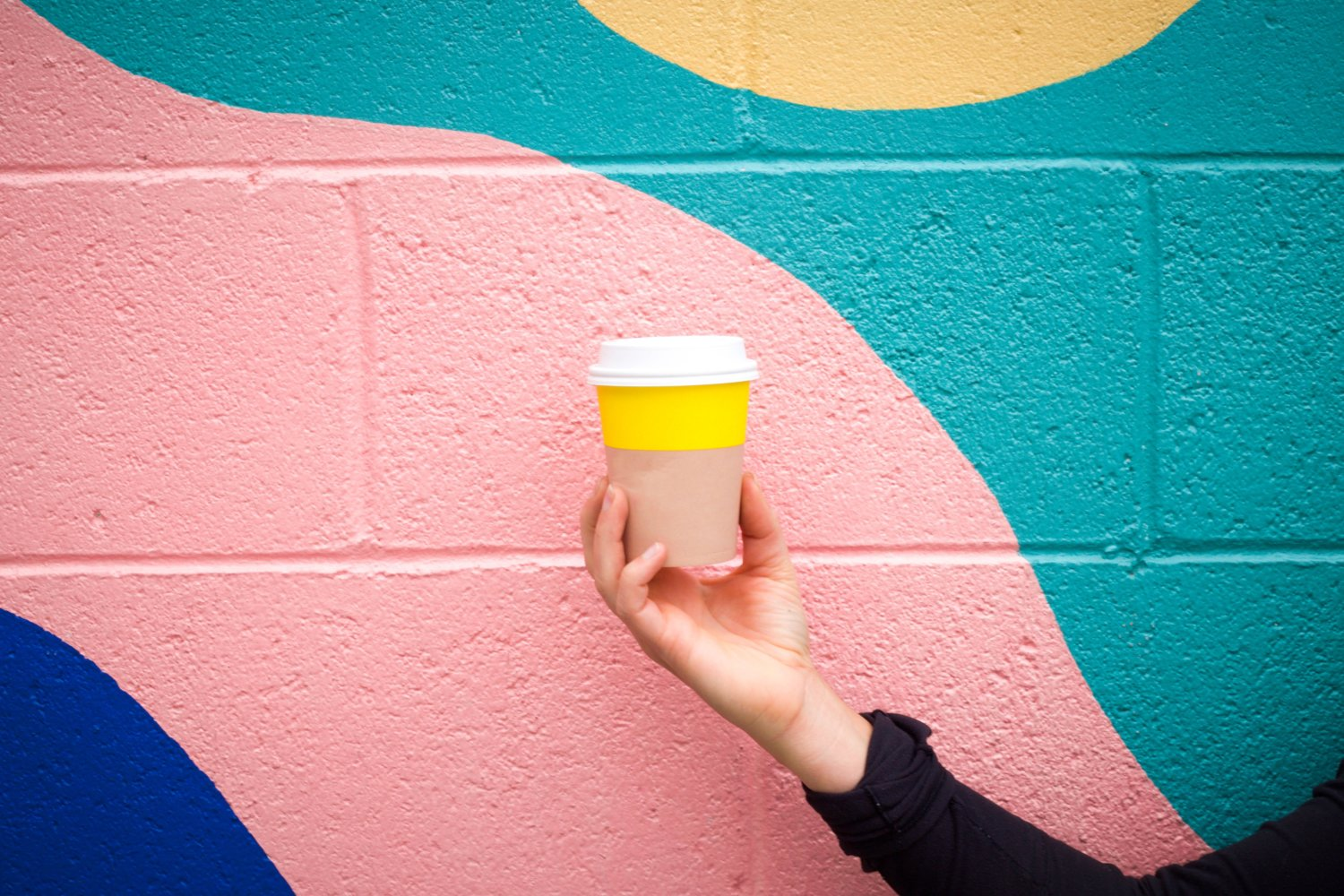 person holding disposable coffee cup